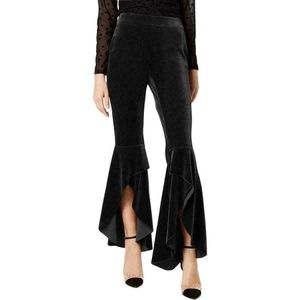 INC Glam Black Flair Leg Velveteen Pants